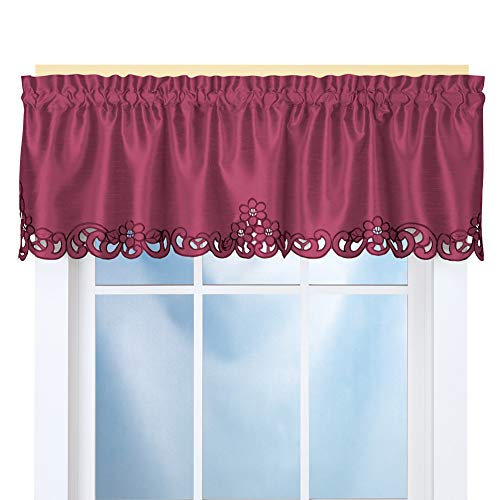 Collections Etc Elegance Scroll Embroidered Cut-Out Window Valance with Rod Pocket Top for Easy Hanging, 58