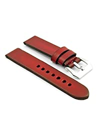 StrapsCo 22mm Vintage Red 4mm Thick Leather Watch Strap