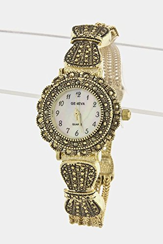Costume Jewellery Watches (Trendy Fashion Jewelry Round Marcasite Chain Watch By Fashion Destination | (Gold))
