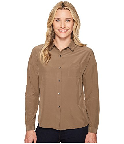 (prAna Agnes Long Sleeve Tops, Mud, Large)