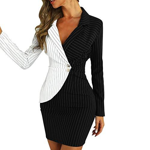 Aniywn Ladies Bodycon Blazer Dress Women Slim Fit Pinstripe Patchwork Bodycon Dress Suit Sets Black (Remover Pinstripe)