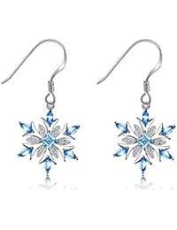 Snowflake 1.4ct Genuine Swiss Blue Topaz Dangle Earrings 925 Sterling Silver