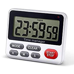 Digital Countdown Timer,QWM Timer, Loud Alarm clock,Stopwatch,24 hour time Cycle and Memory,Large LCD Display clock for Cooking