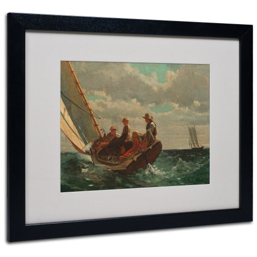 Homer Rocks (Trademark Fine Art Breezing Up 'A Fair Wind' by Winslow Homer with Black Frame Artwork, 16 by 20-Inch)