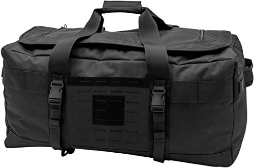 LA Police Gear Expedition Carry On Size Travel Duffel Bag with Backpack Straps, Black