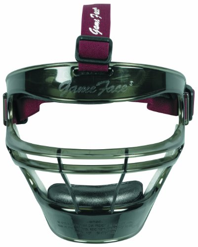 Maroon Mask Face (Markwort Game Face Sports Safety Mask (Smoke with Maroon Ponytail Harness, Medium))