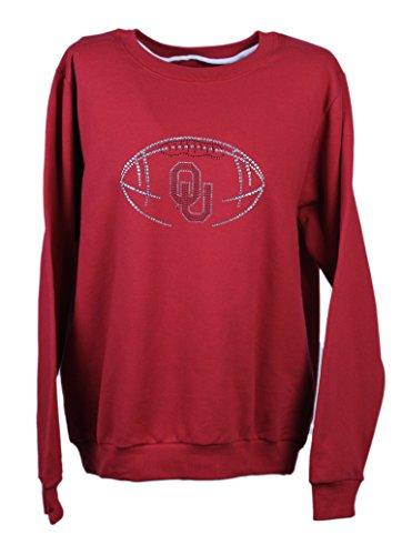 NCAA Oklahoma Sooners Women's Cut Sweatshirt with Rhinestone & Metallic OU Skeleton Football, Medium, Crimson