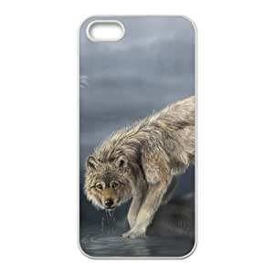 wolf drinking water painting iPhone 4 4s Cell Phone Case White 53Go-459057