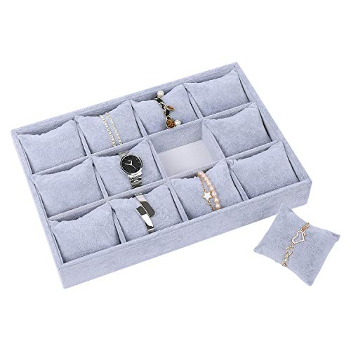 STYLIFING Watch Jewelry Tray Organizer Bracelet Display Showcase 12 Grid Pillows Tray Jewelry Storage Holder Grey Velvet Gifts for Men Women Girls from STYLIFING
