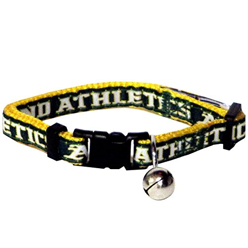 MLB CAT COLLAR. - OAKLAND ATHLETICS CAT COLLAR. - Strong & Adjustable BASEBALL Cat Collars with Metal Jingle Bell