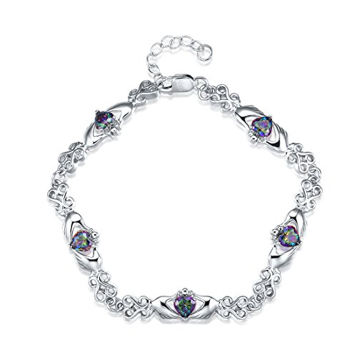Merthus 925 Sterling Silver Created Mystic Rainbow Topaz Claddagh Link Necklace for Women Girls