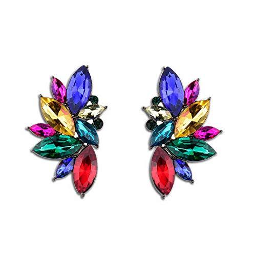 Dokis 1Pair Women Leaf Crystal Rhinestone Shiny Mixed Ear Stud Earrings Jewelry Gift | Model ERRNGS - 16514 |