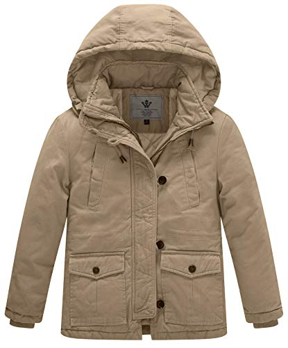 WenVen Boy's and Girl's Winter Parka Coat Thicken Cotton Twill Hooded Jacket, Khaki, 6-7Y