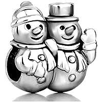 SexyMandala Christmas Snowman Winter Charm Multicolor Crystal Golden Beads fit Pandora Jewelry Bracelets