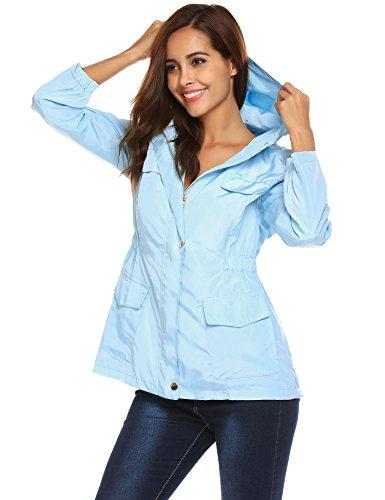 Pinspark Women's Lightweight Raincoat Waterproof Hooded Windbreaker Outdoor Jacket Light Blue - Breaker Womens