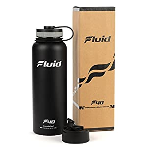 Insulated Stainless Steel Water Bottle By Fluid Sports (Obsidian) - 40 Oz, Wide Mouth, BPA Free, Bonus Flip-top Lid Included