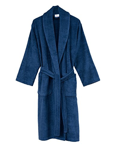 TowelSelections Men's Robe, Turkish Cotton Terry Shawl Bathrobe Large/X-Large Moonlight Blue (Terry Cloth Shawl)