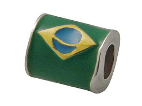 Zable Sterling Silver Brazil Enamel Flag Pandora Compatible Bead/Charm