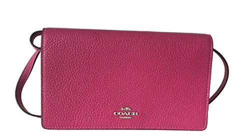 Coach Foldover Clutch Wallet Pebbled Leather Crossbody Bag (Cerise) by Coach (Image #5)