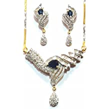 Shingar Jewelry Ksvk Jewels Cubic Zirconia (CZ) Tanmania Pendant Set For Women (9954-psad-blue)