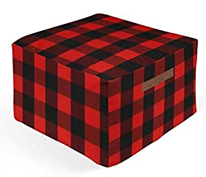 Amazon Com Twig Bird Ottoman Pouf In Red And Black