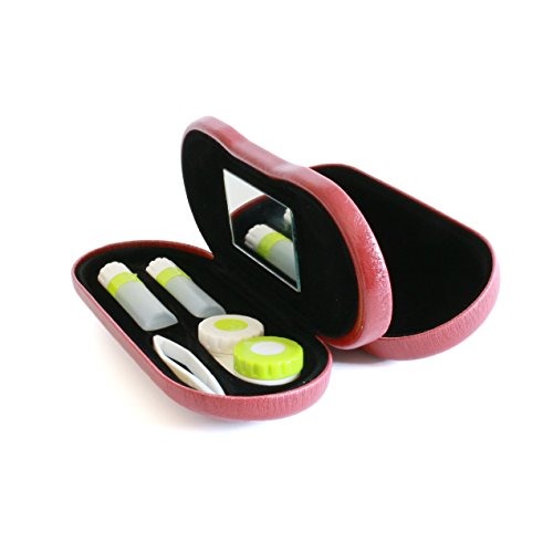 Bissport Glasses cases & Contacts Lens Case Assorted 2 in 1 Travel Kit - Red