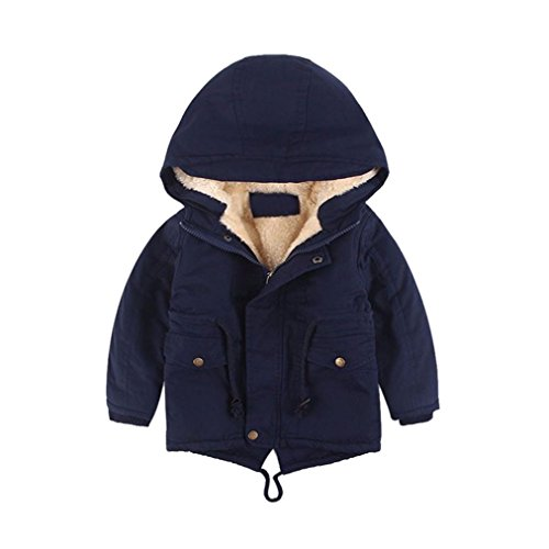 Baby Kids Boy Winter Warm Coat Cotton Hooded Thick Jacket Zipper Outwear Clothes (3/4T, Navy)