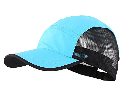 LLmoway Outside Lightweight Boys Running Cap Dry Fit Breathable Mesh Baseball Hat UV Protection Blue, One Size