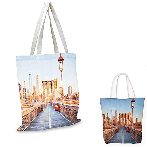 canvas laptop bag City New York Skyline Closeup Brooklyn Bridge in Manhattan over Hudson River Orange Pale Blue Grey canvas tote bag with zipper