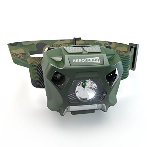 HeroBeam Fishing Headlamp - USB Rechargeable Head Flashlight Designed for Fishermen - White and Red Lighting - Hands Free ON/Off Mode - Lightweight, Camouflaged and Weatherproof