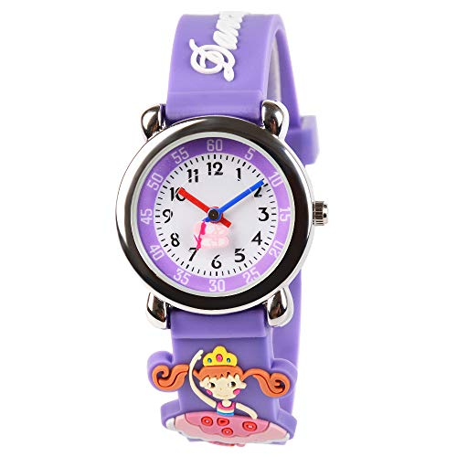 Venhoo Kids Watches 3D Cute Cartoon Waterproof Sport Silicone Children Toddler Wrist Watch Time Teacher Birthday Gift for 3-10 Year Boys Girls Little Child (Dancing Girls) -