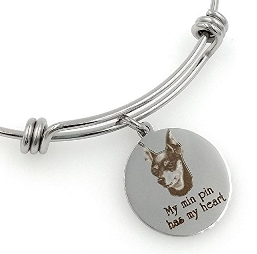 My Min Pin, Miniature Pinscher Has My Heart Engraved Expandable Bangle Bracelet