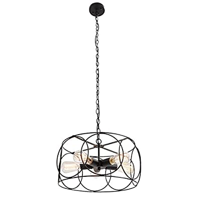 UNITARY Brand Black Vintage Barn Metal Shade Hanging Ceiling Chandelier Max. 300w with 5 Lights Painted Finish - We use EMS,UPS,EUB,DHL express service,after we deliver goods,usually the time of shippment is 7-15 days. Product Dimensions:51.18x17.32x17.32 inch. It's the perfect light fixture to install in kitchen,dining room,living room,foyers and more. Voltage:120V for North America.Max. Power:300W. Feature: If use edison bulbs, incandescent bulbs or dimmable LED bulbs, this fixture is dimmable. - kitchen-dining-room-decor, kitchen-dining-room, chandeliers-lighting - 41Lq5DuqK9L. SS400  -