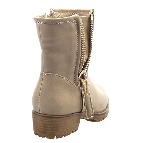 Sopily - damen Mode Schuhe Stiefeletten Biker Nieten - besetzt Reißverschluss Schuhabsatz Blockabsatz - Beige
