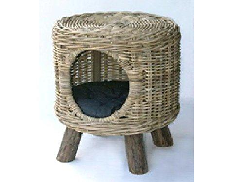Katzenbett aus Rattan mit Kissen - Höhe 48cm (ohne Fuß) / Durchmesser 44cm - Hochwertige Verarbeitung