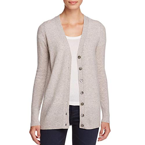 Private Label Womens Cashmere Grandfather Cardigan Sweater Gray XS
