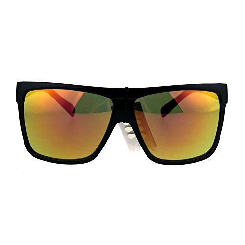 Mirrored Squared Flat Top Mob Gangster Plastic Rectangle Sunglasses Black Fuchsia ()