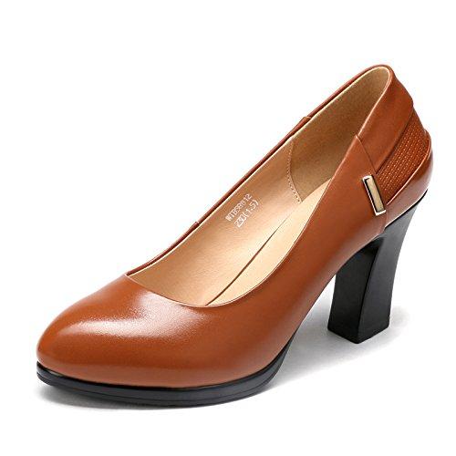 Hauts Glissière Confortable Round Chaussures Toe à Pompes Toe Chaussures Sur à Les Robe Brown épais Bureau Brown Talons Travail HOqYwY6d