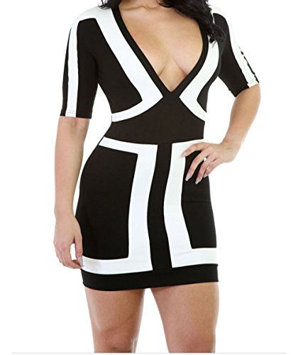 Buy black and white houndstooth strapless dress - 7