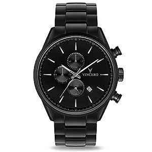 Vincero Luxury Men's Chrono S Wrist Watch - Steel Watch Band - 43mm Chronograph Watch - Japanese Quartz Movement