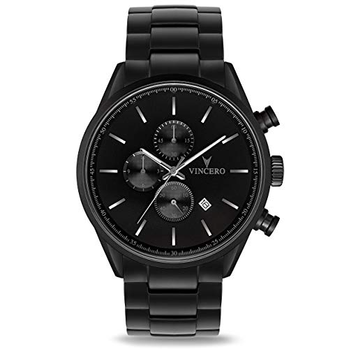 Vincero Luxury Men's Chrono S Wrist Watch - Steel Watch Band - 43mm Chronograph Watch - Japanese Quartz Movement (Matte Black)