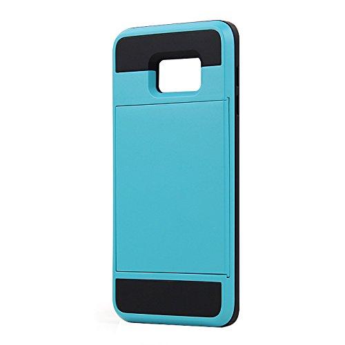 Telefon-Kasten - SODIAL(R)Karte Tasche Stossfeste Duenne Hybrid Mappe Abdeckung fuer Samsung Galaxy S6 Edge Plus Blau