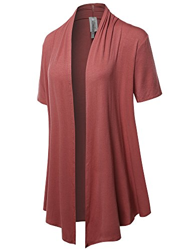 Made by Emma Solid Jersey Knit Draped Open Front Short Sleeves Cardigan Marsala 3XL (Solid Knit Fashion)