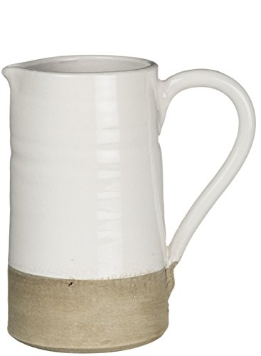Sullivans Ceramic Pitcher, 8 x 8.5 Inches, White and Tan (CM2599)