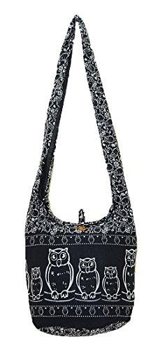 Shoulder Thai Pattern Cotton Handmade Purse Black Zip Owl Hobo Boho Sling Medium Messenger Crossbody Bird Bag Gypsy Hippie Oq107IwrO