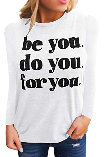 Umeko Womens Tank Tops Graphic Tees Funny Crew Neck Sleeveless Workout T Shirts with Sayings (Large, A-White)