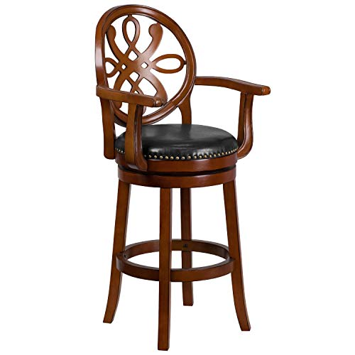 (30'' High Brandy Wood Barstool with Arms, Carved Back and Black Leather Swivel Seat)