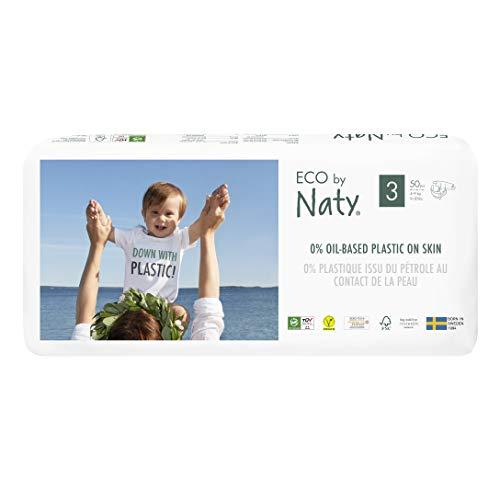 Eco By Naty 8178426, 4-9 kg, Plantaardige Premium Bio-Luiers Met 0% Plastic Op De Huid, Wit, Maat 3, 100 Stuks