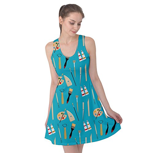 [PattyPattern Womens Artist Tools Set Pattern Reversible Sleeveless Dress (2XL, Turquoise)] (Gothic Bride Halloween Makeup)