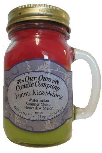 Mmm-Nice-Melons-Watermelon-Cantaloupe-Honeydew-Melon-Scented-13-Ounce-Mason-Jar-Candle-By-Our-Own-Candle-Company